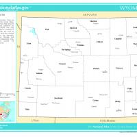 US Map- Wyoming Counties with Selected Cities and Towns