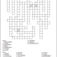 Printable US State Capitals Part 1 - Printable Crosswords - Free Printable Games