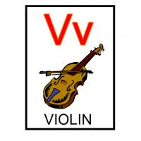 V is for Violin Flash Card
