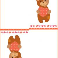 Printable Valentine Bear with Dotted Heart - Printable Valentines - Free Printable Cards