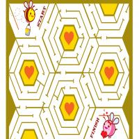 Printable Valentine Bee Maze - Printable Mazes - Free Printable Games