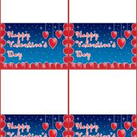 Valentine Hearts in Stars and Blue Background