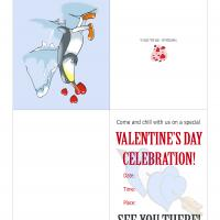 Valentine Penguin Party Invitation