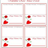 Printable Valentine Rose Place Card - Printable Place Cards - Free Printable Cards
