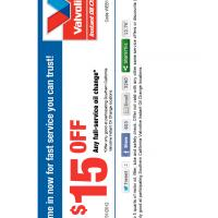Valvoline $15 Off Oil Change