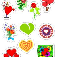 Various Bright Colored Valentine Stickers