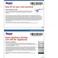 Sears Various Coupons