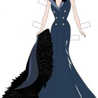 Velvet Long Gown Paper Doll Dress