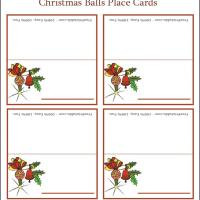 Printable Vintage Christmas Ball Place Cards - Printable Place Cards - Free Printable Cards