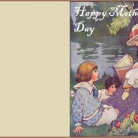 Printable Vintage Mother and and Children in Garden - Printable Mothers Day Cards - Free Printable Cards