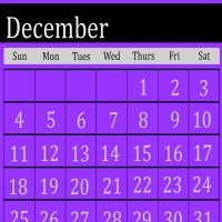 Printable Violet December 2011 Calendar - Printable Monthly Calendars - Free Printable Calendars
