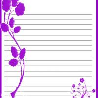 Printable Violet Flower Stationary - Printable Stationary - Free Printable Activities