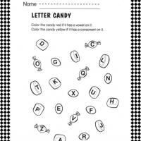 Vowel and Consonant Candy Worksheet