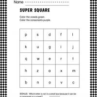 Printable Vowel and Consonant Square Worksheet - Printable Classroom Lessons - Free Printable Lessons
