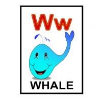 Printable W is for Whale Flash Card - Printable Flash Cards - Free Printable Lessons