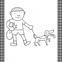 Walking The Dog Flash Card