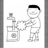 Washing Hands Flash Card