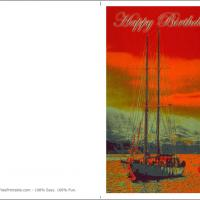Printable Watercolor Painting of Sailboat - Printable Birthday Cards - Free Printable Cards