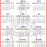 Printable Wedding Cake 2013 Calendar - Printable Yearly Calendar - Free Printable Calendars