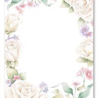 White Roses Blank Invitation