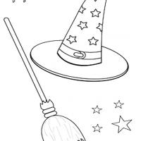 Printable Witch Hat and Broom - Printable Coloring Sheets - Free Printable Coloring Pages