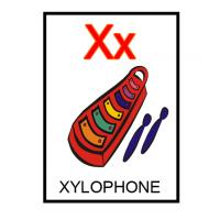Printable X is for Xylophone Flash Card - Printable Flash Cards - Free Printable Lessons