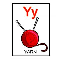Y is for Yarn Flash Card