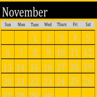 Yellow November 2011 Calendar