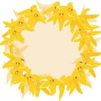 Yellow Wreath Name Tag