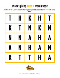Thanksgiving Thank Word Puzzle