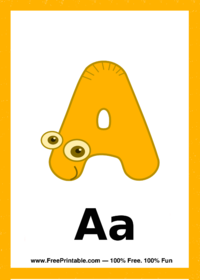 Letter A Creature Flash Card
