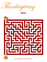 Thanksgiving Maze Easy