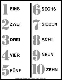 German Number Chart