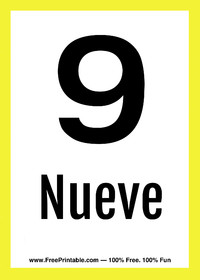 Spanish Flash Card Nueve