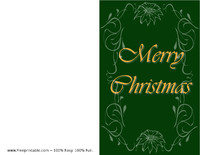 Green Poinsettia Christmas Card