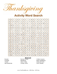 Thanksgiving Activity Word Search