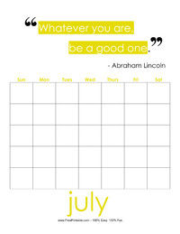 Perpetual July Quote Calendar