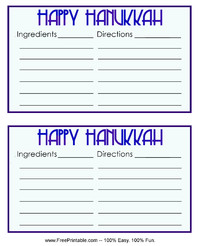 Happy Hanukkah Recipe Card