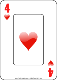 Four of Hearts Playing Card