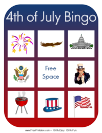 Fourth of July Bingo Card 4