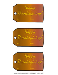 Brown Thanksgiving Gift Tag