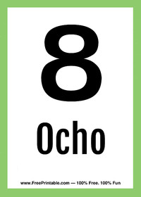 Spanish Flash Card Ocho