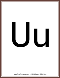 Flash Card Letter U