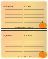 Thanksgiving Pumpkin Recipe Card