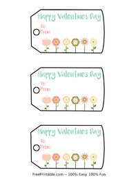 Valentine Flowers Gift Tag