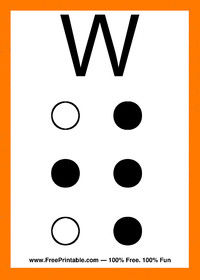 Braille Flash Card W