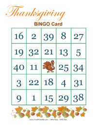 Thanksgiving Bingo Game 1