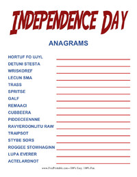 Independence Day Anagrams