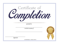 Completion Certificate with Gold Ribbon