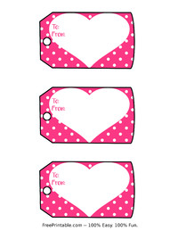 Valentine Heart Polka Dots Gift Tags